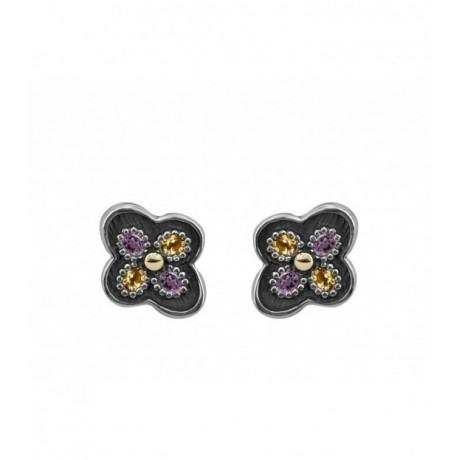 ALLEGRIA GOLD & SEMI-PRECIOUS STONES EARRINGS